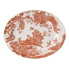 Royal Crown Derby Red Aves Oval Platter 13""
