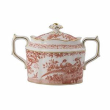 Royal Crown Derby Red Aves Covered Sugar Bowl 5.5 oz.