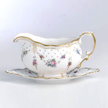 Royal Crown Derby ROYAL ANTOINETTE SAUCE BOAT & STAND 14 oz.