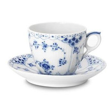 Royal Copenhagen Blue Fluted Half Lace Cup & Saucer 5.75 oz. (1102071)