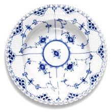"Royal Copenhagen Blue Fluted Full Lace Rim Soup Plate 9"" (1103605)"