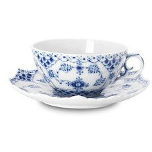Royal Copenhagen Blue Fluted Full Lace Teacup & Saucer 7.5 oz. (1103080)