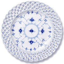 "Royal Copenhagen Blue Fluted Full Lace Plate W/ Pierced Border 9.75"" (1103638)"