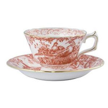 Royal Crown Derby Red Aves Teacup & Saucer