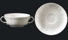 Richard Ginori Antico Doccia White Cream Soup Cup & Saucer Set of 2