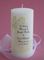 Our French Lace memorial candles match our unity candles.
