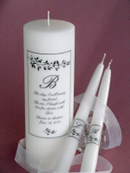 Personalized Wedding unity candles in a Lovebird design made with Swarovski crystals.
