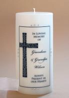 Large Designer Cross Memorial Candle