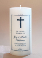 Designer Cross Christian Memorial Candle