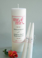 Mr. & Mrs. Coral Wedding Unity Candles