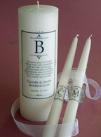 Monogrammed wedding unity candle made with Swarovski crystals.