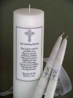 Irish Wedding Blessing wedding unity candle made with Swarovski crystals.