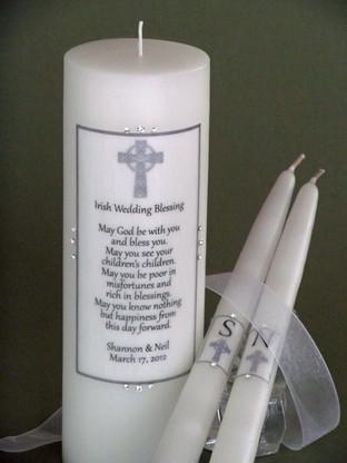 Irish Wedding Blessing wedding unity candle made with Swarovski crystals.
