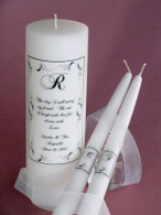 Wedding unity candle in our Border Leaf design made with Swarovski crystals