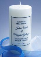 Simple Script Blue Memorial Candle