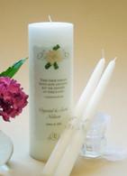 Gold Elegance Wedding Unity Candles - White Hydrangea