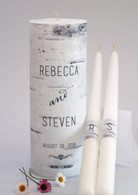 Birch Wood Canvas Wedding Unity Candle Set
