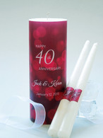 40th Anniversary Candle Set - Ruby Red