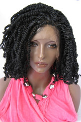 """Fully hand braided lace front wig - Afro Puffy Twists color 1 in 14"""" and 6"""""""