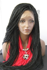 "Fully hand braided lace front wig - Nina color 1 in 22"" (Medium twists)"