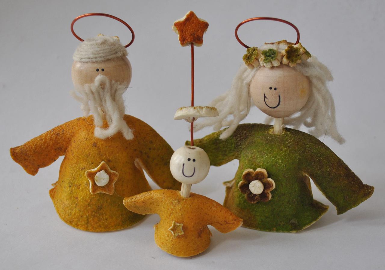 Novelty ornaments - Novelty Ornaments Orange Peel Nativity Set