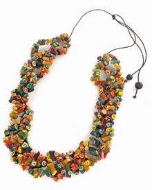 Orange peel necklace on leather cord - Multicolor