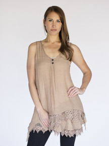 Asymmetrical 2PC Dress Mocha