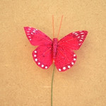 7.5cm Red Glittered Butterfly on Wire