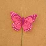 7.5cm Hot Pink Glittered Butterfly on Wire