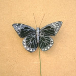 7.5cm Black Glittered Butterfly on Wire