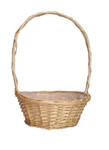 12 inch round florida white basket with handle