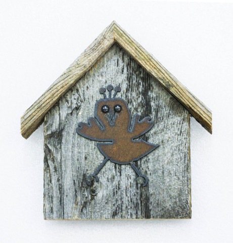 Rustic Birdhouse Key Holder, Chick-A-Dee
