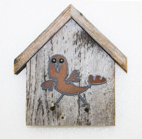 Rustic Birdhouse Key Holder, Wacky-Bird