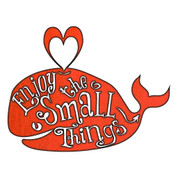 "RUSTIC METAL WHALE ""ENJOY THE SMALL THINGS"" SIGN"