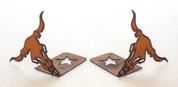 Rustic Metal Cow Skull Bookends