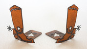 RUSTIC METAL COWBOY BOOTS BOOKENDS
