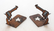 RUSTIC METAL PISTOL BOOKENDS