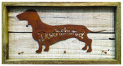 Rustic Reclaimed Framed Metal Dachshund Leash Holder