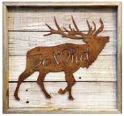 "Rustic Reclaimed Framed Metal Elk ""Be Wild"""