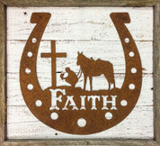 Rustic Reclaimed Framed Metal Horseshoe Faith