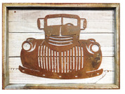Rustic Reclaimed Framed Metal Old Truck