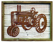 Rustic Reclaimed Framed Metal Old Tractor