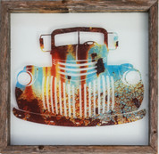 Rustic Glass Framed Old Truck