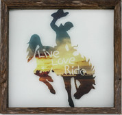 Rustic Glass Framed Bronco Live, Love, Ride