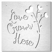 "Brushed Metal Large Wall Sign ""Love Grows Here"""