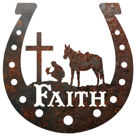 RUSTIC METAL HORSESHOE FAITH SIGN