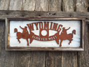 Rustic Metal Wyoming Winetopper attaches to reclaimed wood with magnets. Makes a great unique gift for the home.