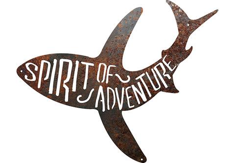 Spirit of Adventure shark rustic metal sign.