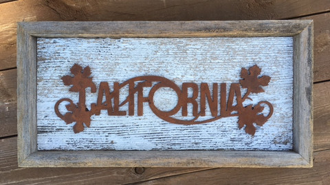California Wine Topper mounted on shabby white reclaimed wood.