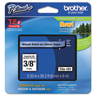 "Brother TZe121 Black On Clear P-Touch Label Tape 3/8"" x 26.2' Original Genuine OEM"